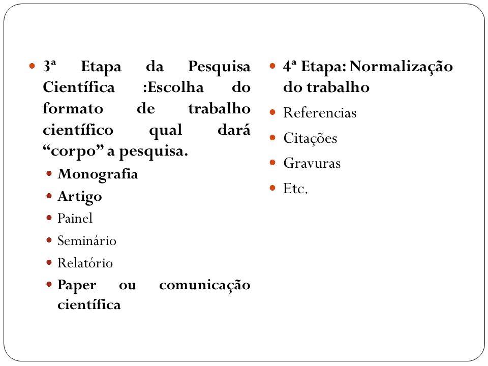 3ª Etapa da Pesquisa Científica :Escolha do formato de trabalho científico qual dará corpo a pesquisa. Monografia Artigo Painel Seminário Relatório Pa