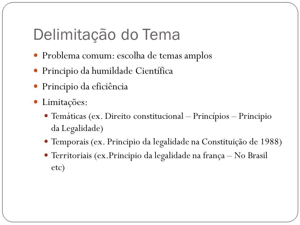 Delimitação do Tema Problema comum: escolha de temas amplos Principio da humildade Científica Principio da eficiência Limitações: Temáticas (ex. Direi