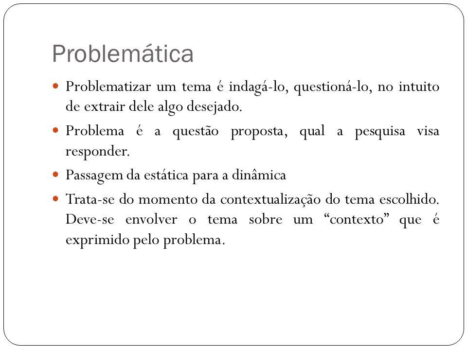Problemática Problematizar um tema é indagá-lo, questioná-lo, no intuito de extrair dele algo desejado. Problema é a questão proposta, qual a pesquisa