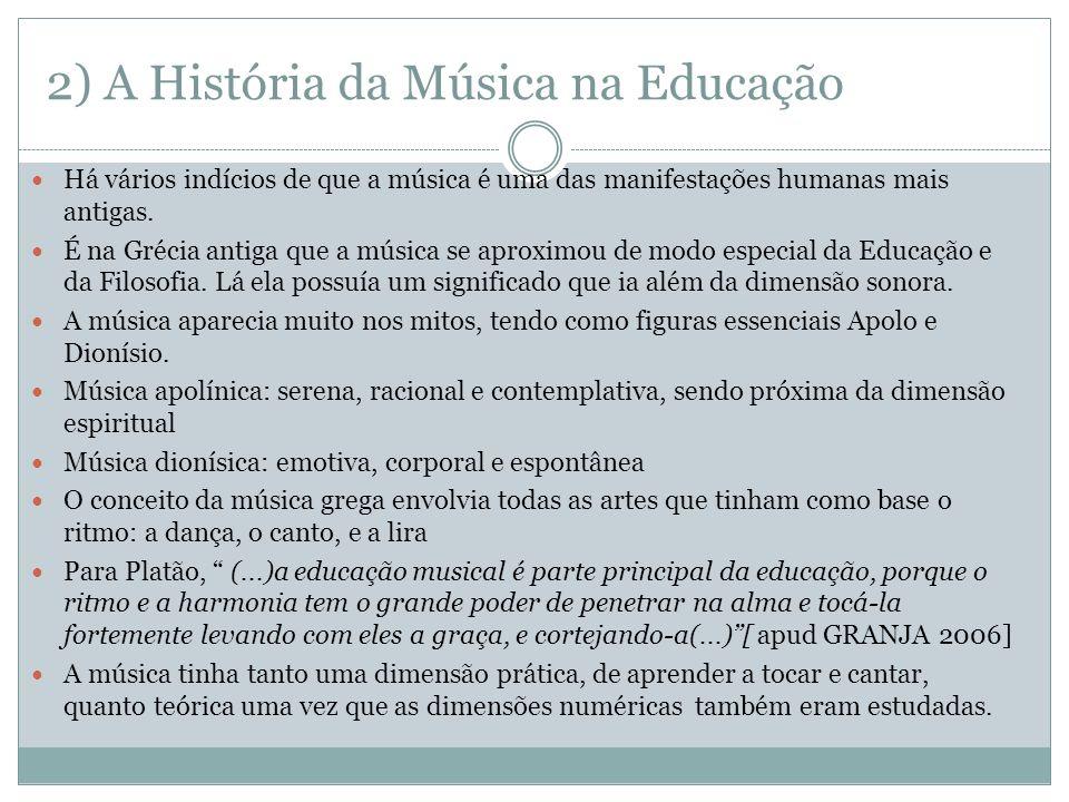 2) A História da Música na Educação Há vários indícios de que a música é uma das manifestações humanas mais antigas. É na Grécia antiga que a música s
