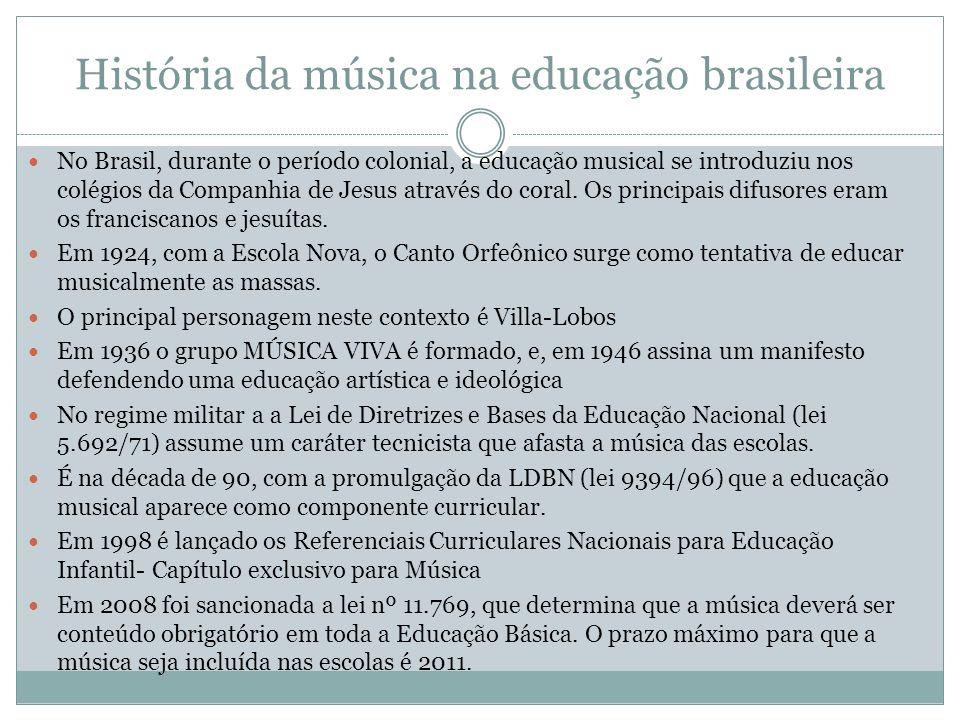 História da música na educação brasileira No Brasil, durante o período colonial, a educação musical se introduziu nos colégios da Companhia de Jesus a