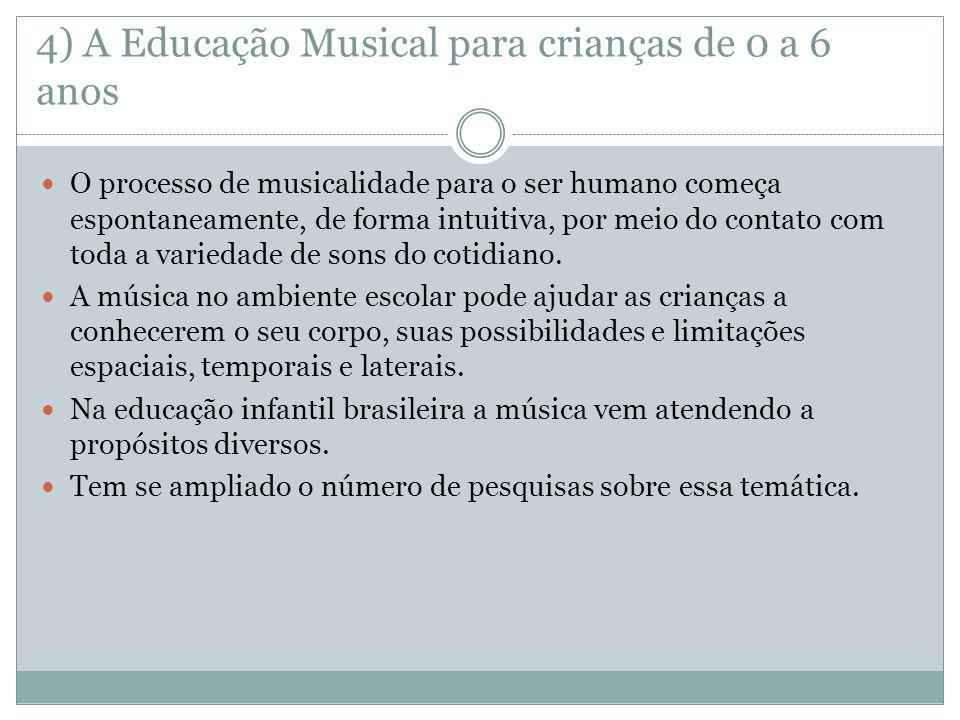 4) A Educação Musical para crianças de 0 a 6 anos O processo de musicalidade para o ser humano começa espontaneamente, de forma intuitiva, por meio do