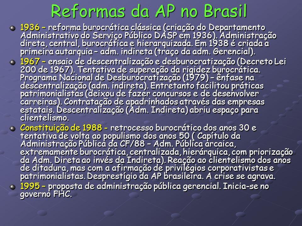 Reformas da AP no Brasil 1936 – reforma burocrática clássica (criação do Departamento Administrativo do Serviço Público DASP em 1936). Administração d