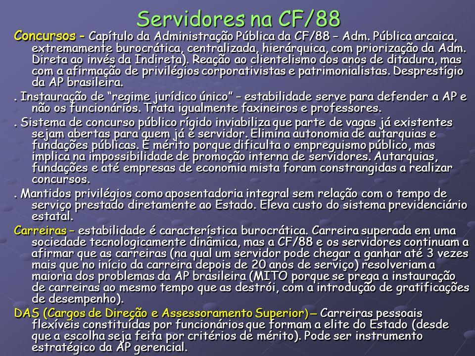 Servidores na CF/88 Concursos - Capítulo da Administração Pública da CF/88 – Adm. Pública arcaica, extremamente burocrática, centralizada, hierárquica
