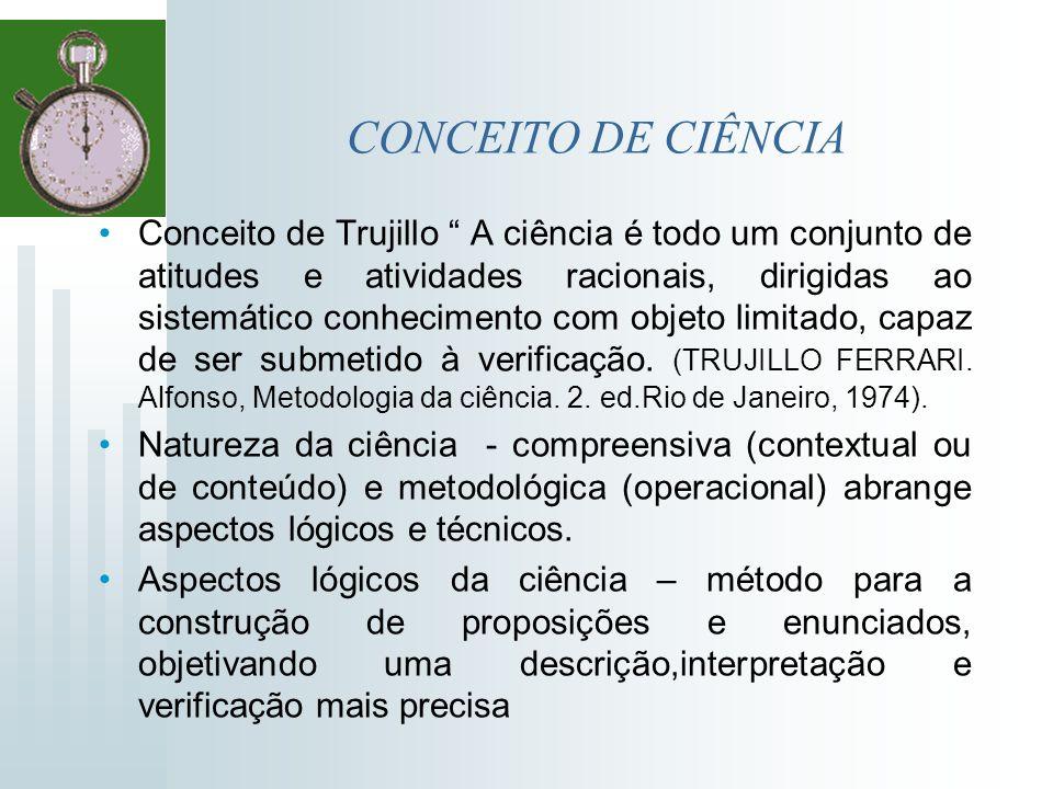 CONCEITO DE CIÊNCIA Conceito de Trujillo A ciência é todo um conjunto de atitudes e atividades racionais, dirigidas ao sistemático conhecimento com ob