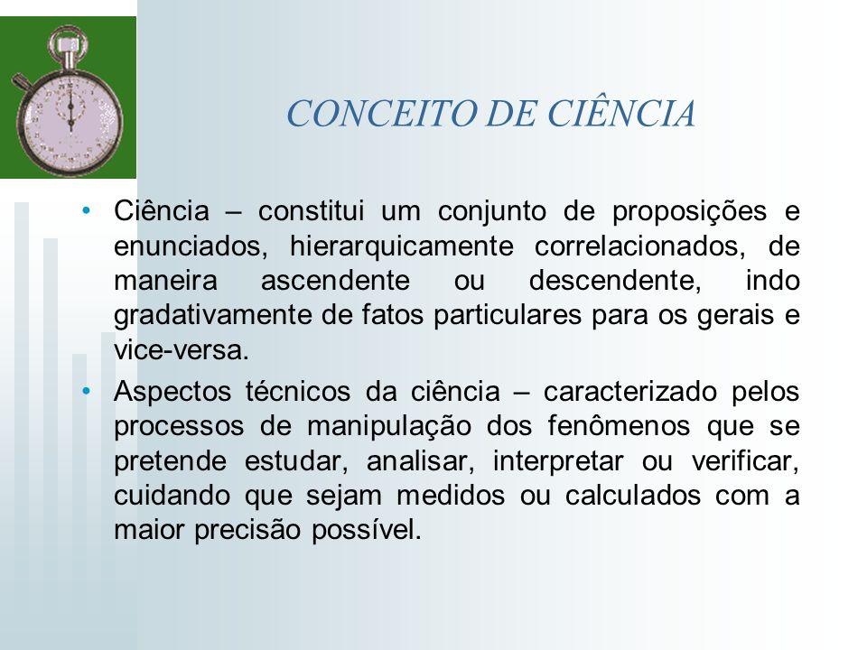 CONCEITO DE CIÊNCIA Ciência – constitui um conjunto de proposições e enunciados, hierarquicamente correlacionados, de maneira ascendente ou descendent