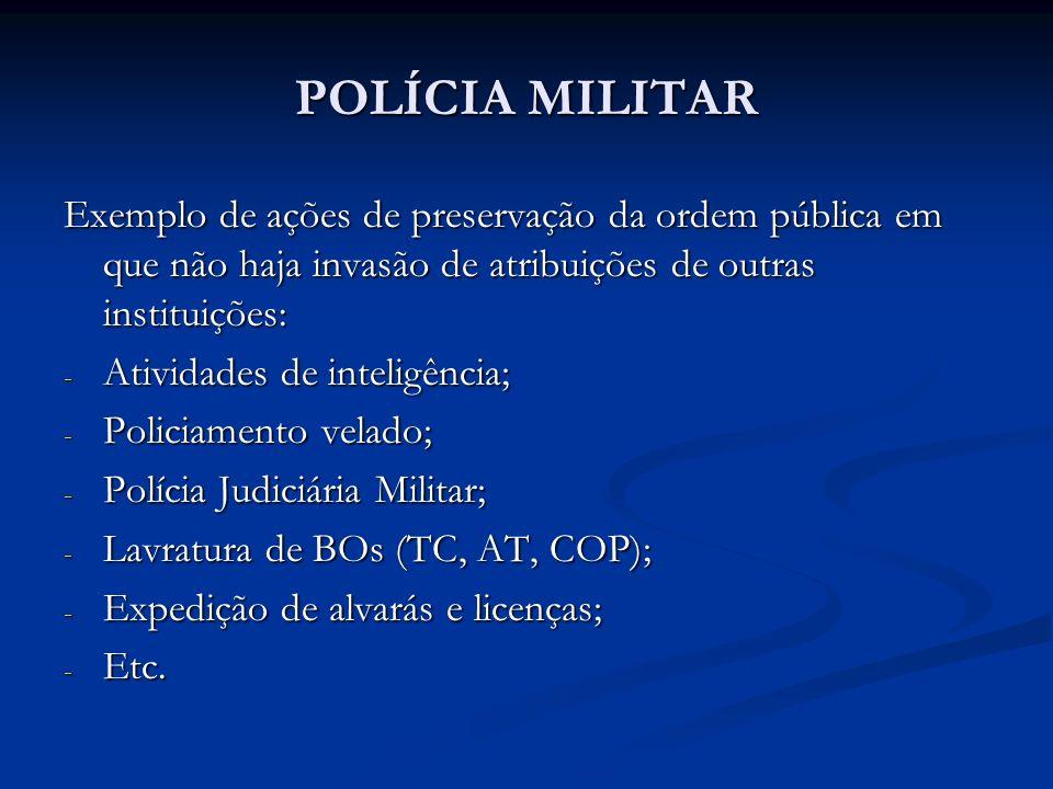 POLÍCIA MILITAR Observa-se que o constituinte não utiliza o termo exclusividade para o exercício da Polícia Ostensiva, até porque previu atribuições e