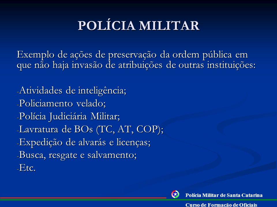 POLÍCIA MILITAR Exemplo de ações de preservação da ordem pública em que não haja invasão de atribuições de outras instituições: - Atividades de inteli