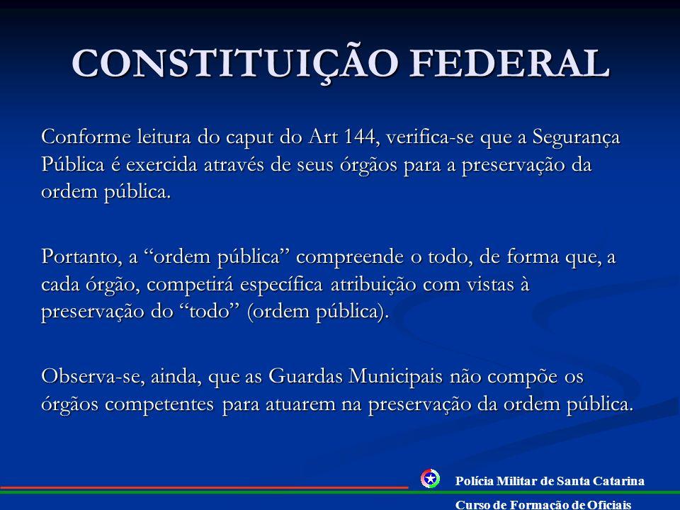 CONSTITUIÇÃO FEDERAL Art. 144. A segurança pública, dever do Estado, direito e responsabilidade de todos, é exercida para a preservação da ordem públi