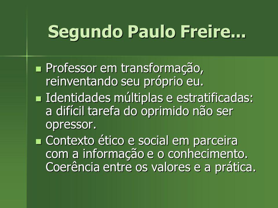 Segundo Paulo Freire... Professor em transformação, reinventando seu próprio eu. Professor em transformação, reinventando seu próprio eu. Identidades