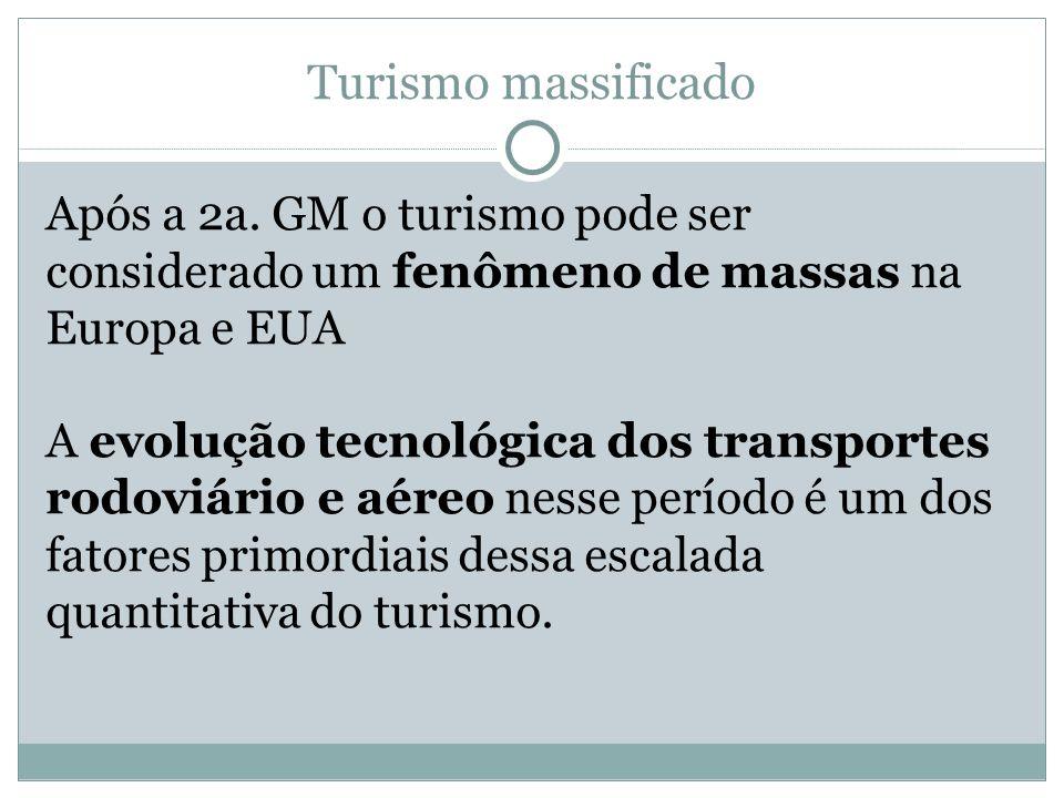 Turismo massificado Após a 2a. GM o turismo pode ser considerado um fenômeno de massas na Europa e EUA A evolução tecnológica dos transportes rodoviár