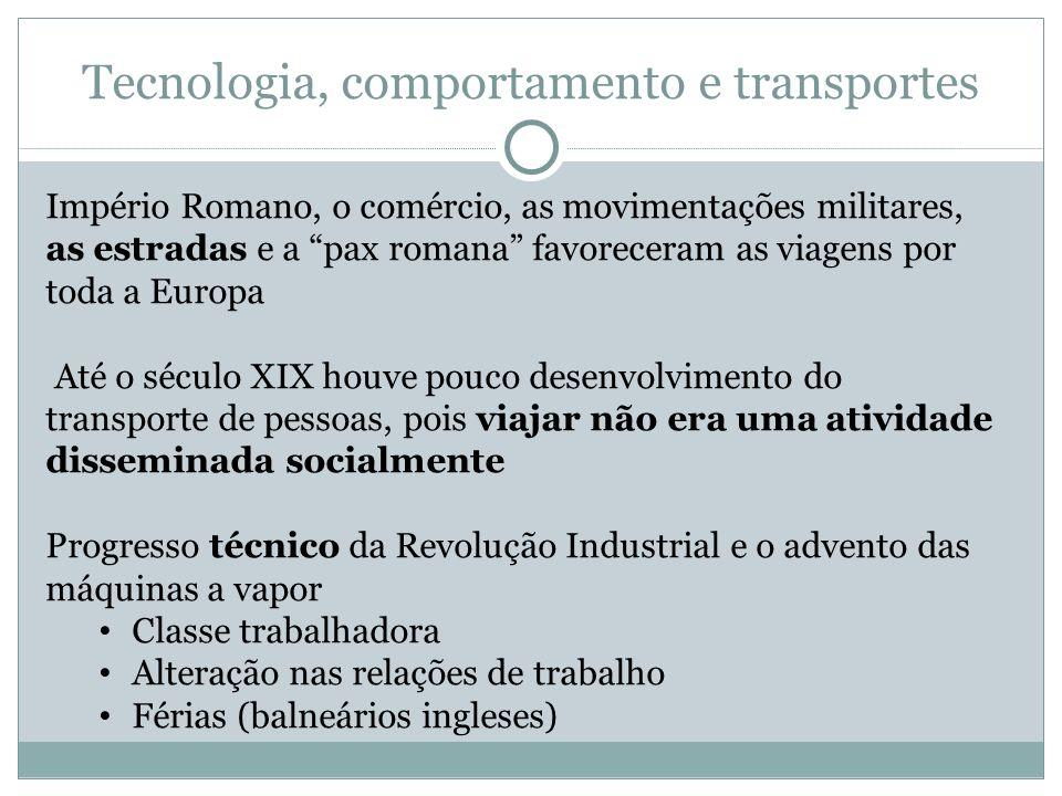 Tecnologia, comportamento e transportes Império Romano, o comércio, as movimentações militares, as estradas e a pax romana favoreceram as viagens por