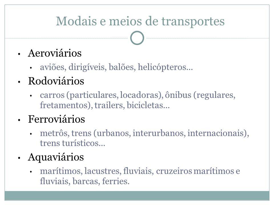 Modais e meios de transportes Aeroviários aviões, dirigíveis, balões, helicópteros... Rodoviários carros (particulares, locadoras), ônibus (regulares,