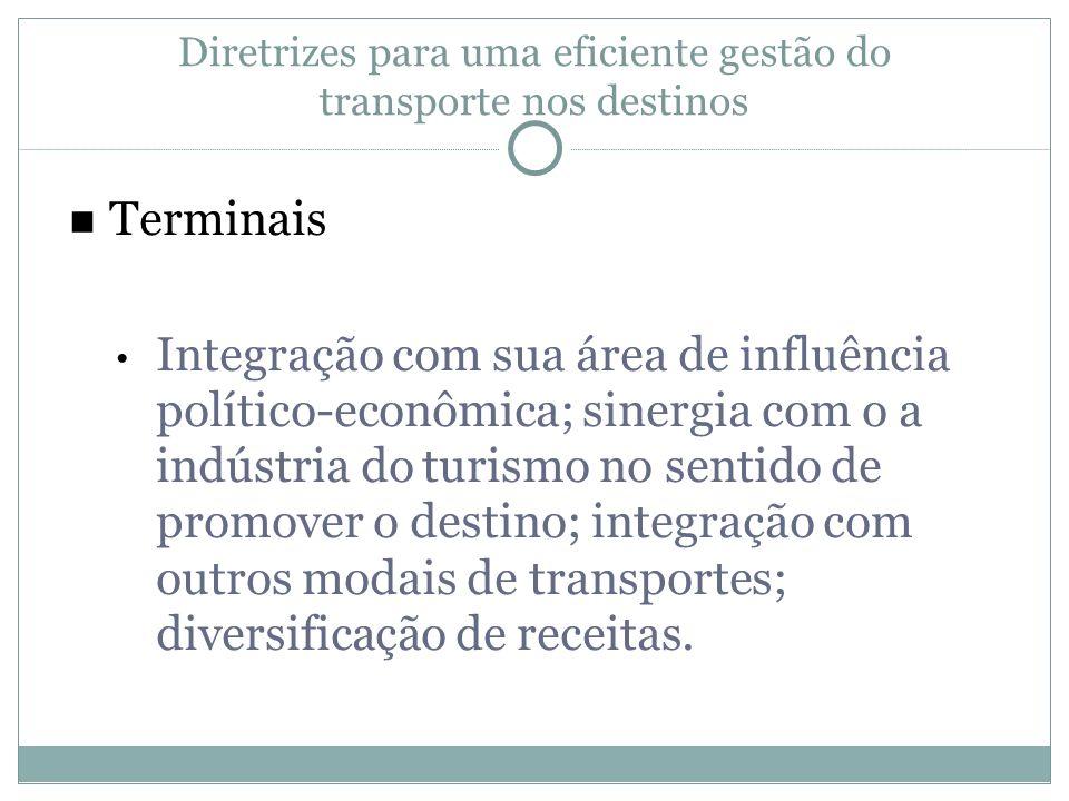 Terminais Integração com sua área de influência político-econômica; sinergia com o a indústria do turismo no sentido de promover o destino; integração
