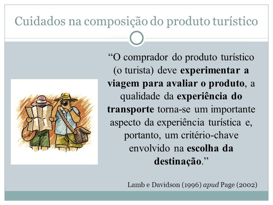 Cuidados na composição do produto turístico O comprador do produto turístico (o turista) deve experimentar a viagem para avaliar o produto, a qualidad