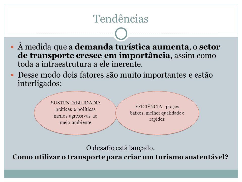 Tendências À medida que a demanda turística aumenta, o setor de transporte cresce em importância, assim como toda a infraestrutura a ele inerente. Des