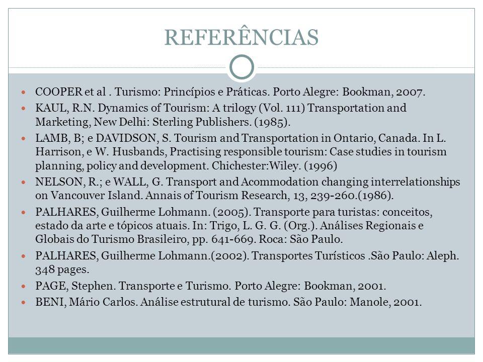 REFERÊNCIAS COOPER et al. Turismo: Princípios e Práticas. Porto Alegre: Bookman, 2007. KAUL, R.N. Dynamics of Tourism: A trilogy (Vol. 111) Transporta