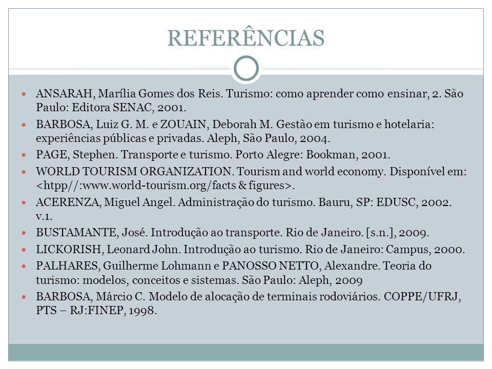 REFERÊNCIAS ANSARAH, Marília Gomes dos Reis. Turismo: como aprender como ensinar, 2. São Paulo: Editora SENAC, 2001. BARBOSA, Luiz G. M. e ZOUAIN, Deb