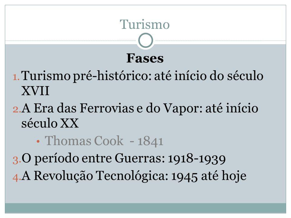 Fases 1. Turismo pré-histórico: até início do século XVII 2. A Era das Ferrovias e do Vapor: até início século XX Thomas Cook - 1841 3. O período entr