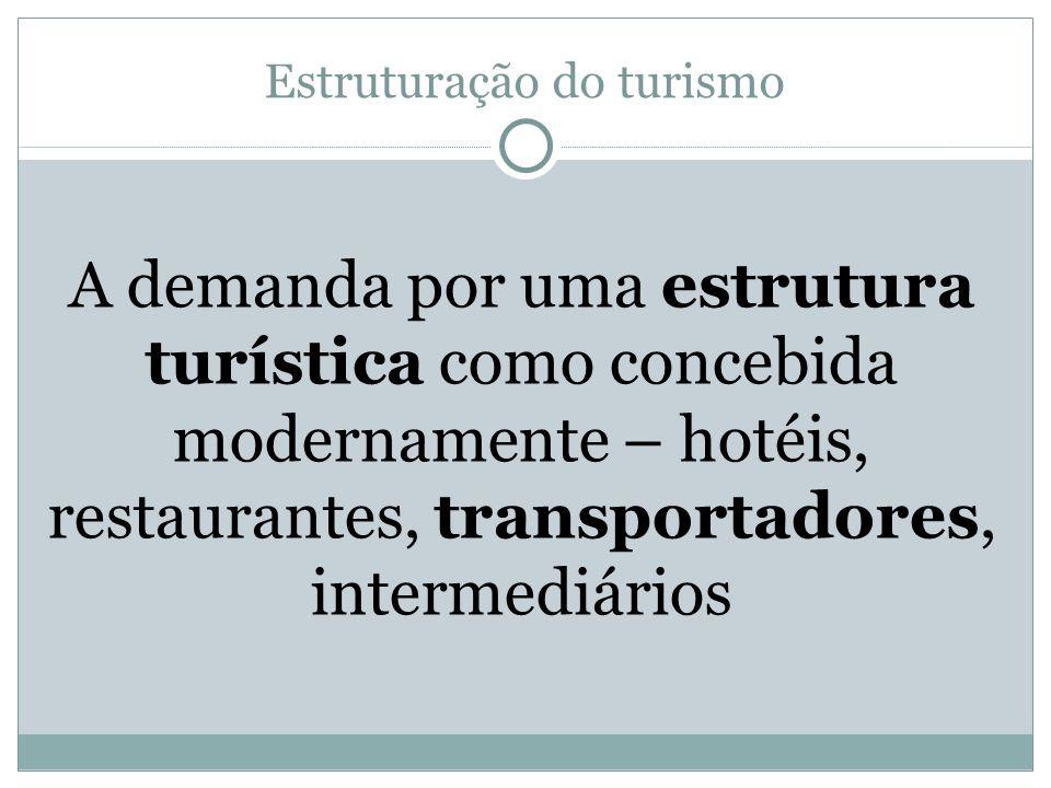 Estruturação do turismo A demanda por uma estrutura turística como concebida modernamente – hotéis, restaurantes, transportadores, intermediários