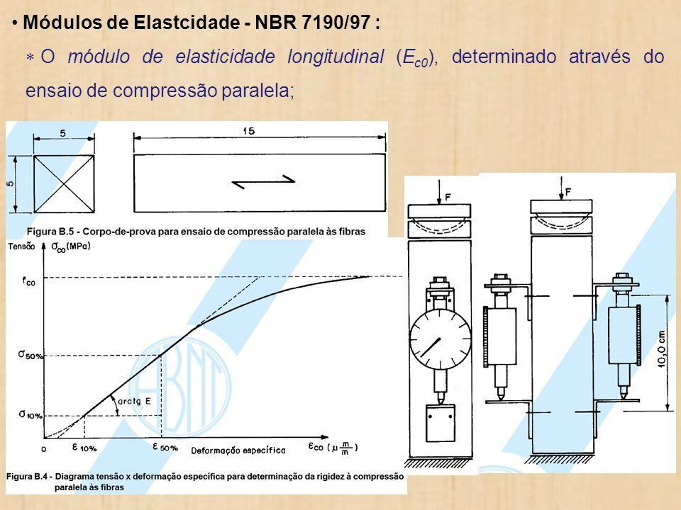 Módulos de Elastcidade - NBR 7190/97 : O módulo de elasticidade longitudinal (E c0 ), determinado através do ensaio de compressão paralela;