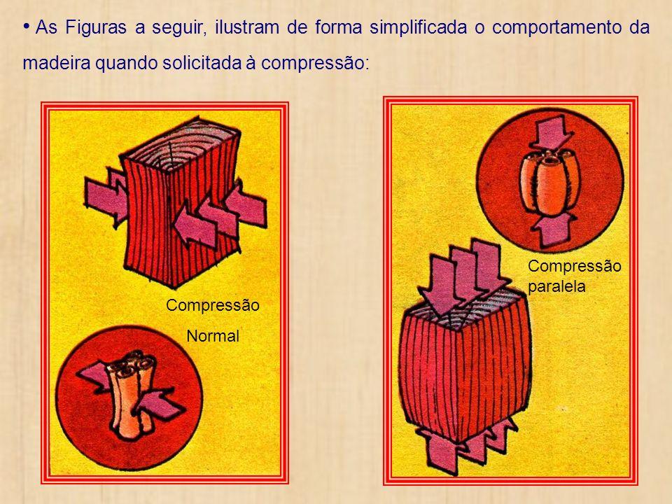 As Figuras a seguir, ilustram de forma simplificada o comportamento da madeira quando solicitada à compressão: Compressão paralela Compressão Normal