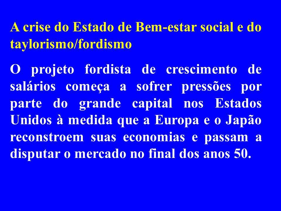 A crise do Estado de Bem-estar social e do taylorismo/fordismo O projeto fordista de crescimento de salários começa a sofrer pressões por parte do gra