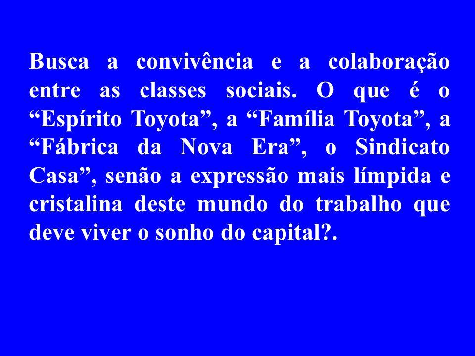 Busca a convivência e a colaboração entre as classes sociais. O que é o Espírito Toyota, a Família Toyota, a Fábrica da Nova Era, o Sindicato Casa, se