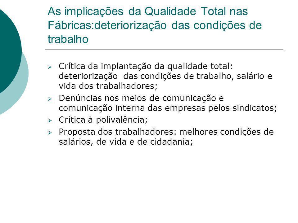 As implicações da Qualidade Total nas Fábricas:deteriorização das condições de trabalho Crítica da implantação da qualidade total: deteriorização das