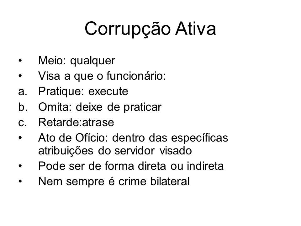 Corrupção Ativa Meio: qualquer Visa a que o funcionário: a.Pratique: execute b.Omita: deixe de praticar c.Retarde:atrase Ato de Ofício: dentro das esp