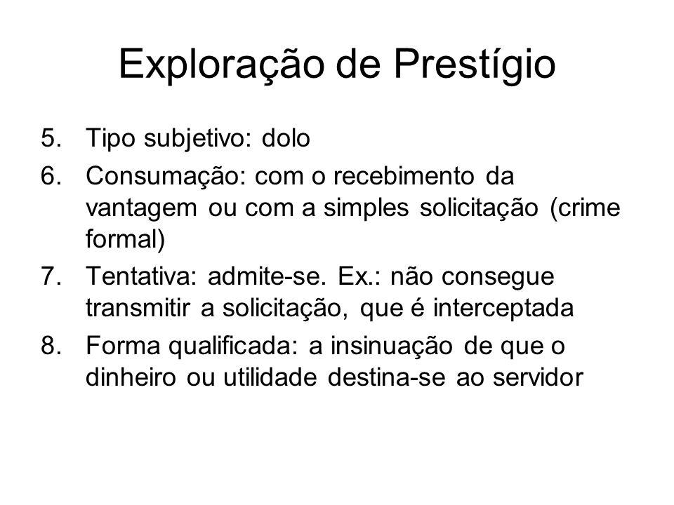 Exploração de Prestígio 5.Tipo subjetivo: dolo 6.Consumação: com o recebimento da vantagem ou com a simples solicitação (crime formal) 7.Tentativa: ad