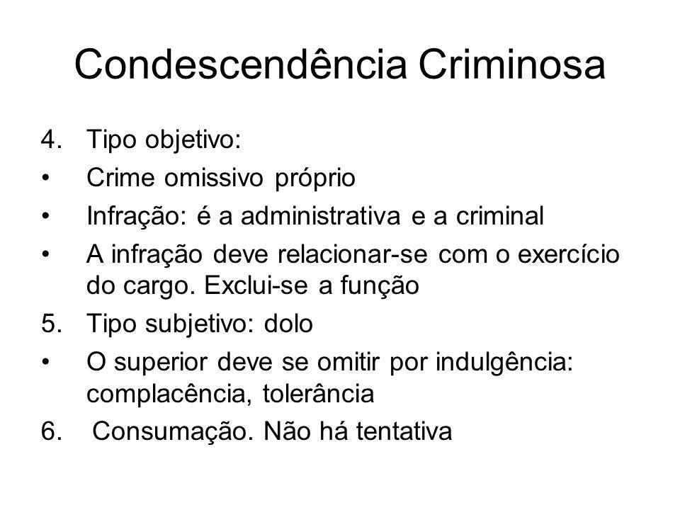 Condescendência Criminosa 4.Tipo objetivo: Crime omissivo próprio Infração: é a administrativa e a criminal A infração deve relacionar-se com o exercí