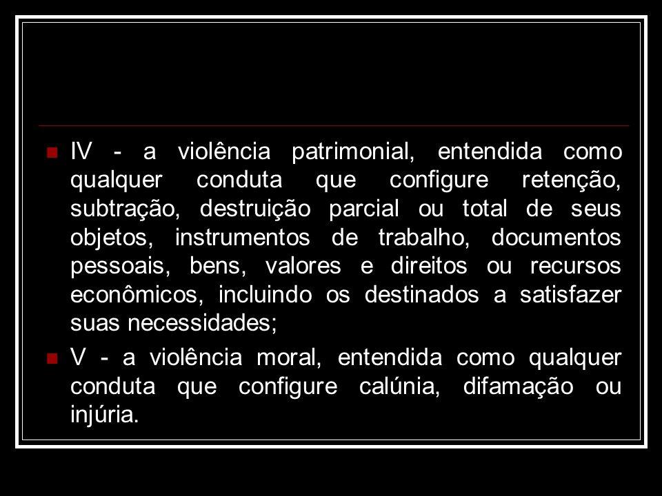 IV - a violência patrimonial, entendida como qualquer conduta que configure retenção, subtração, destruição parcial ou total de seus objetos, instrume