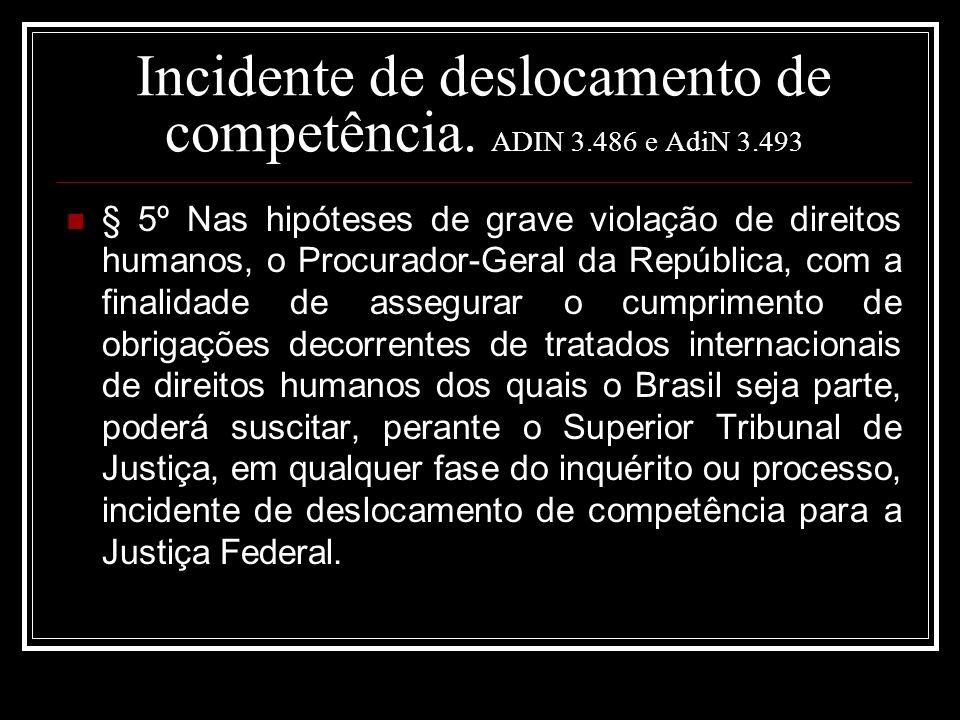 Incidente de deslocamento de competência. ADIN 3.486 e AdiN 3.493 § 5º Nas hipóteses de grave violação de direitos humanos, o Procurador-Geral da Repú