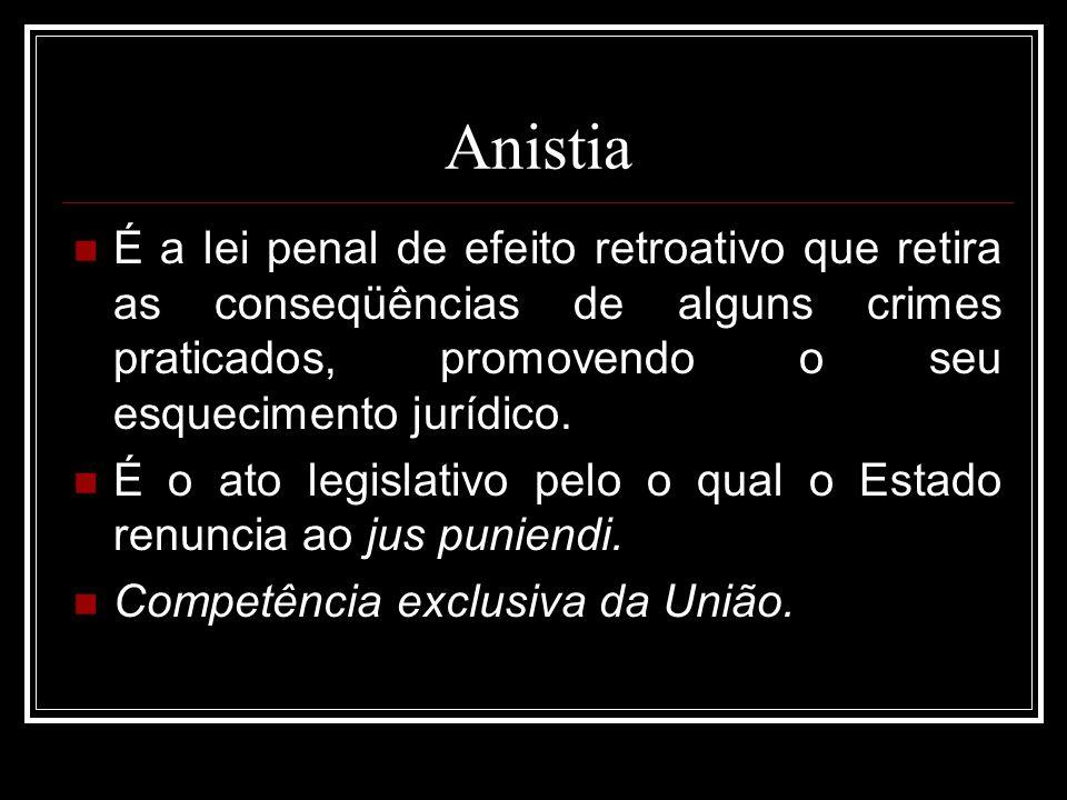 Anistia É a lei penal de efeito retroativo que retira as conseqüências de alguns crimes praticados, promovendo o seu esquecimento jurídico. É o ato le