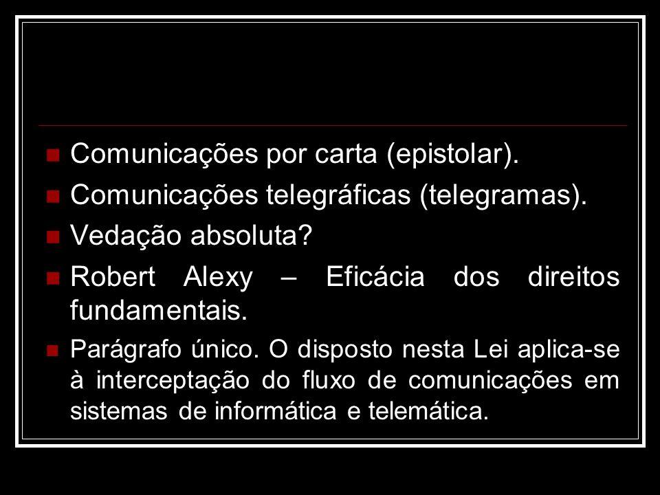 Comunicações por carta (epistolar). Comunicações telegráficas (telegramas). Vedação absoluta? Robert Alexy – Eficácia dos direitos fundamentais. Parág