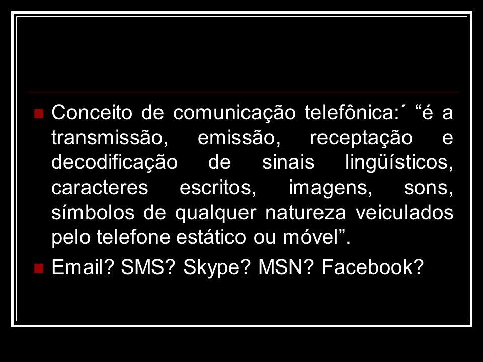 Conceito de comunicação telefônica:´ é a transmissão, emissão, receptação e decodificação de sinais lingüísticos, caracteres escritos, imagens, sons,