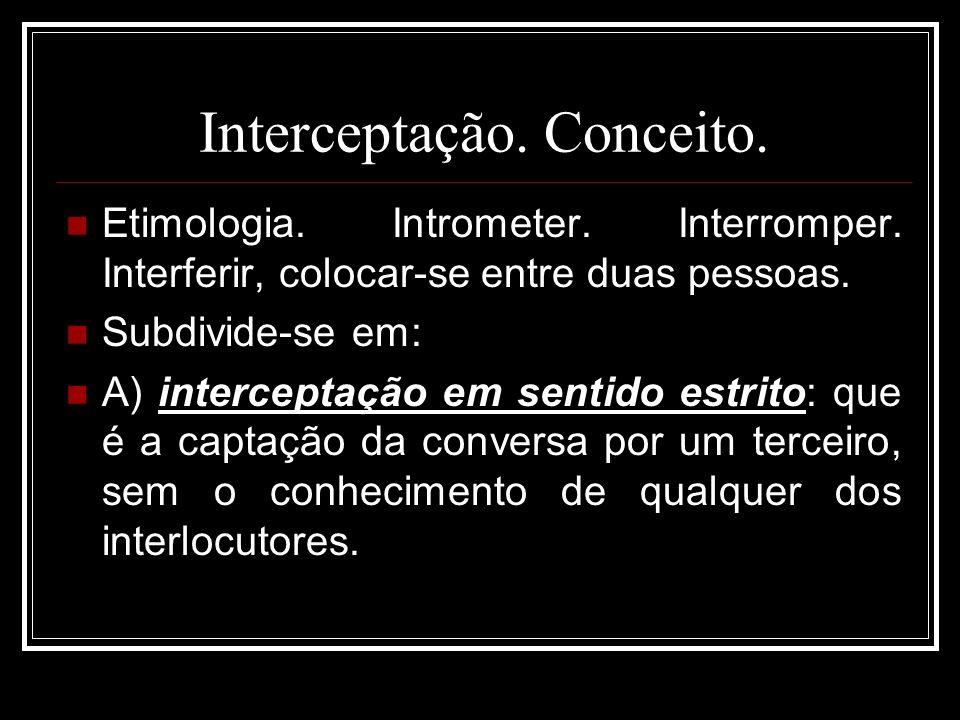 Interceptação. Conceito. Etimologia. Intrometer. Interromper. Interferir, colocar-se entre duas pessoas. Subdivide-se em: A) interceptação em sentido