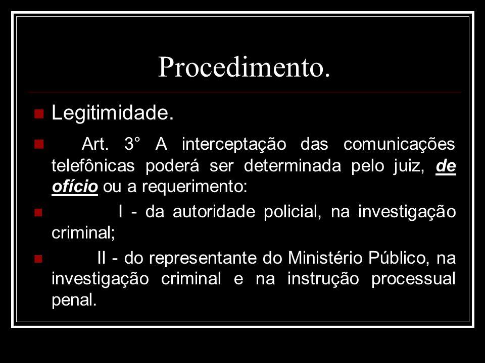 Procedimento. Legitimidade. Art. 3° A interceptação das comunicações telefônicas poderá ser determinada pelo juiz, de ofício ou a requerimento: I - da