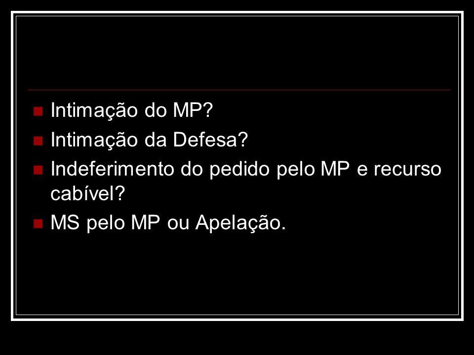 Intimação do MP? Intimação da Defesa? Indeferimento do pedido pelo MP e recurso cabível? MS pelo MP ou Apelação.