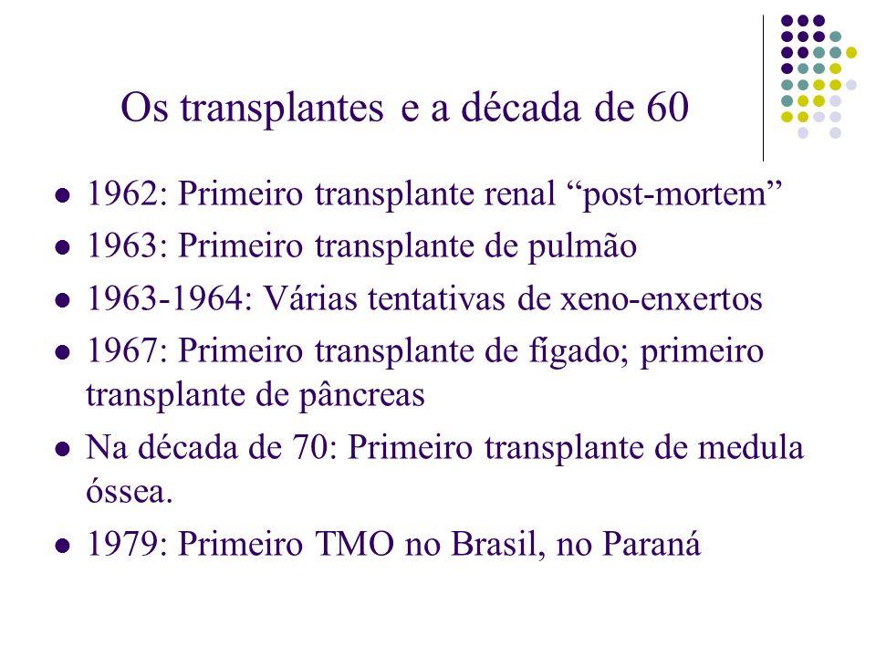 Os transplantes e a década de 60 1962: Primeiro transplante renal post-mortem 1963: Primeiro transplante de pulmão 1963-1964: Várias tentativas de xen