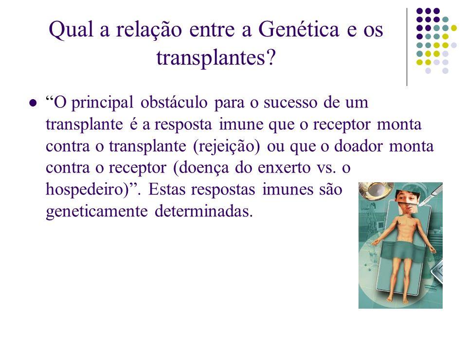 Qual a relação entre a Genética e os transplantes? O principal obstáculo para o sucesso de um transplante é a resposta imune que o receptor monta cont