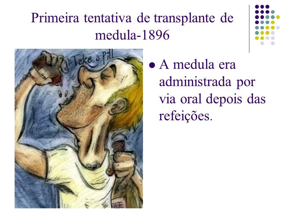 Primeira tentativa de transplante de medula-1896 A medula era administrada por via oral depois das refeições.