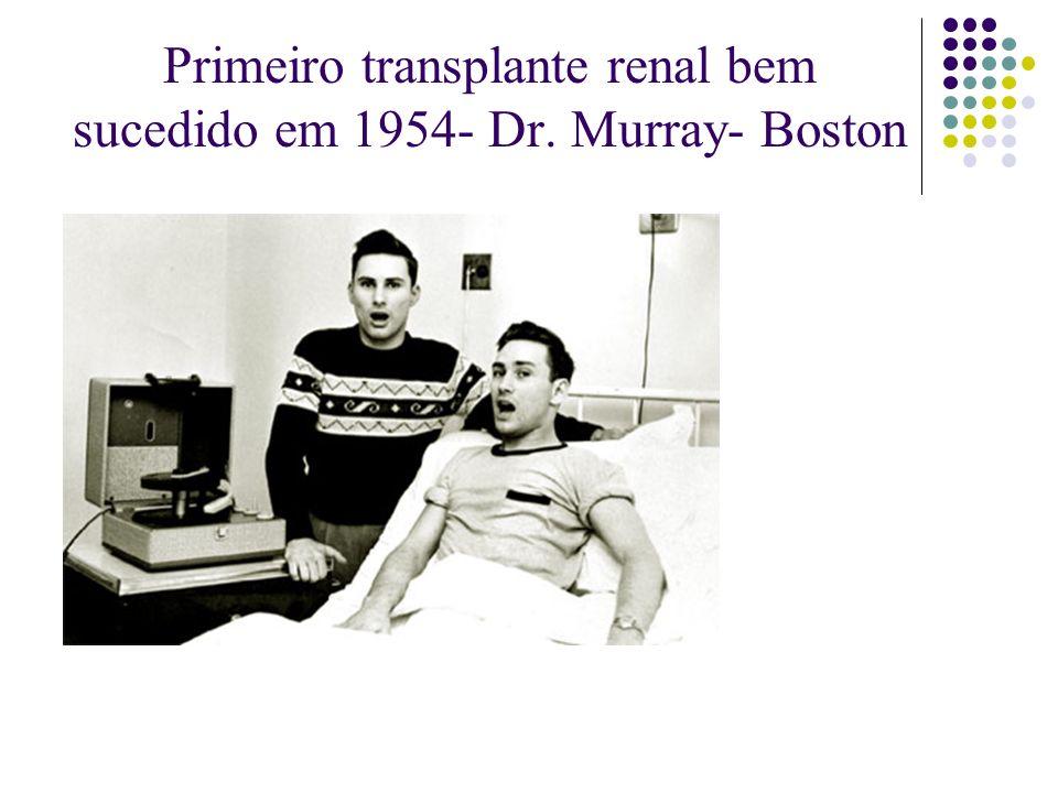 Primeiro transplante renal bem sucedido em 1954- Dr. Murray- Boston
