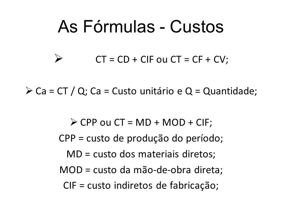 As Fórmulas - Custos CT = CD + CIF ou CT = CF + CV; Ca = CT / Q; Ca = Custo unitário e Q = Quantidade; CPP ou CT = MD + MOD + CIF; CPP = custo de prod