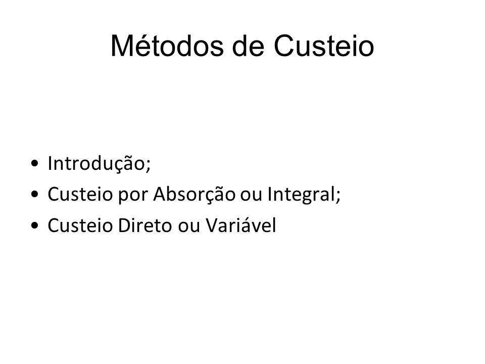 Métodos de Custeio Introdução; Custeio por Absorção ou Integral; Custeio Direto ou Variável