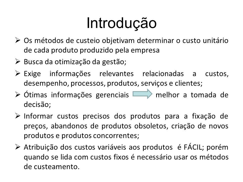 Introdução Os métodos de custeio objetivam determinar o custo unitário de cada produto produzido pela empresa Busca da otimização da gestão; Exige inf