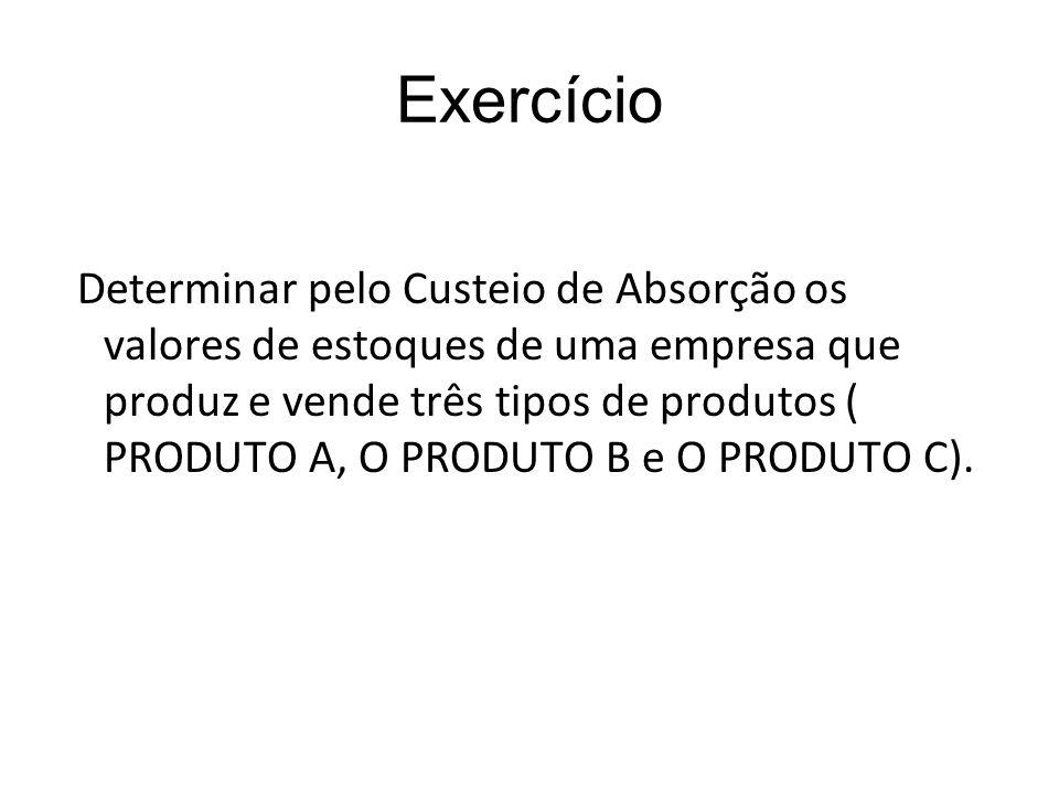 Exercício Determinar pelo Custeio de Absorção os valores de estoques de uma empresa que produz e vende três tipos de produtos ( PRODUTO A, O PRODUTO B