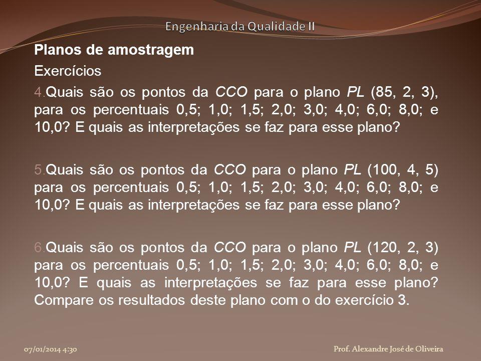 Planos de amostragem Exercícios 4. Quais são os pontos da CCO para o plano PL (85, 2, 3), para os percentuais 0,5; 1,0; 1,5; 2,0; 3,0; 4,0; 6,0; 8,0;
