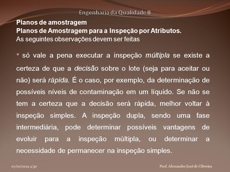Planos de amostragem Planos de Amostragem para a Inspeção por Atributos. As seguintes observações devem ser feitas só vale a pena executar a inspeção